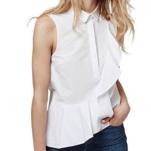Topshop Ruffled Sleeveless White Blouse Size 8